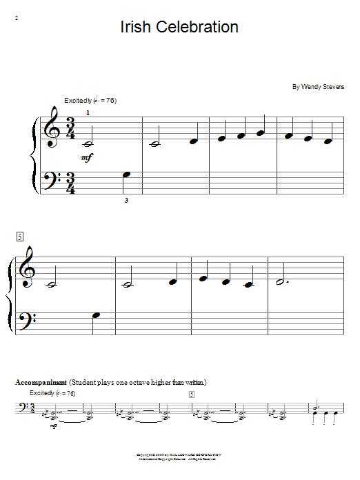 Wendy Stevens Irish Celebration sheet music notes and chords. Download Printable PDF.
