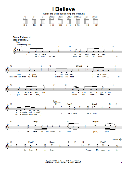 Wes King I Believe sheet music notes and chords. Download Printable PDF.