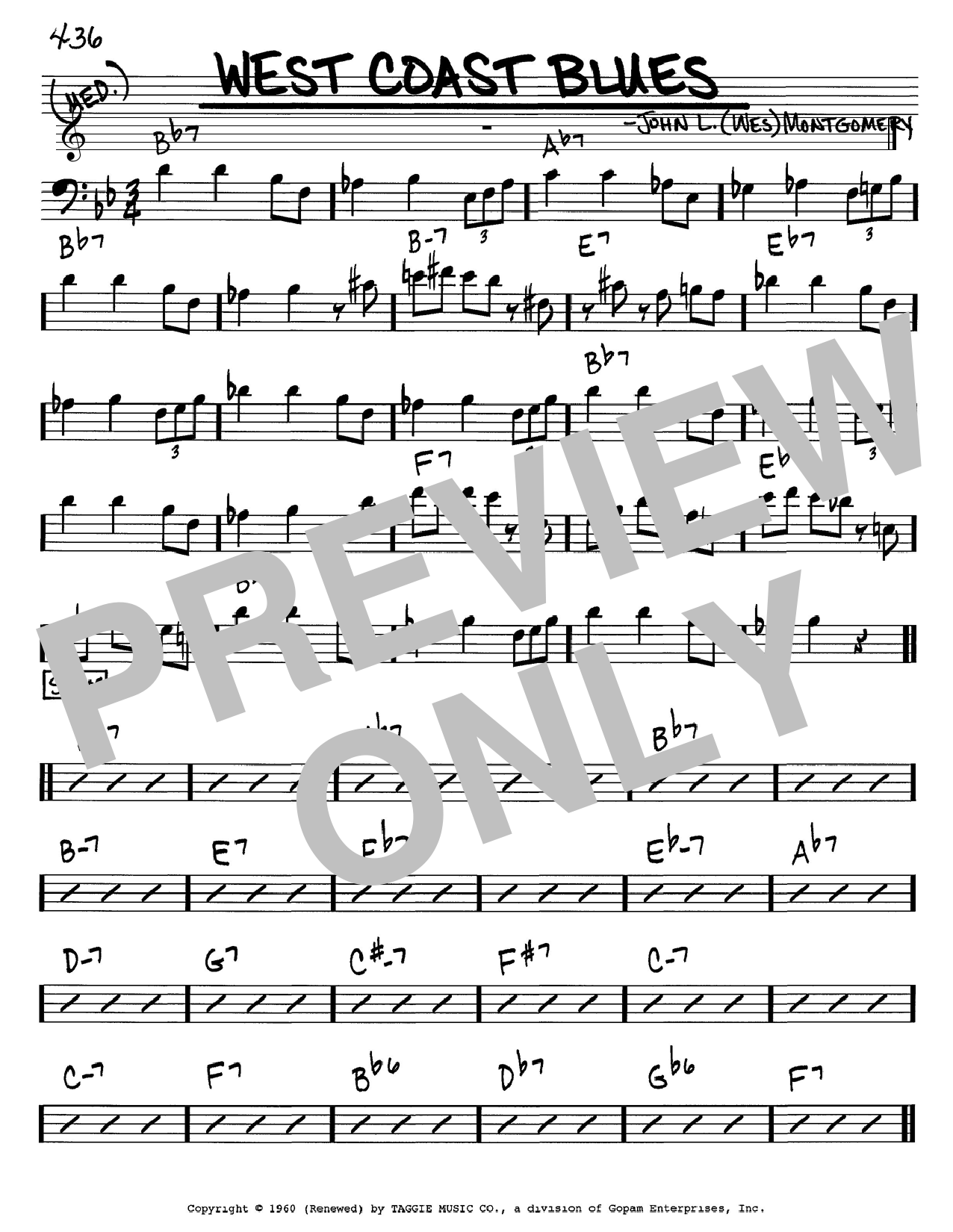Wes Montgomery West Coast Blues sheet music notes and chords. Download Printable PDF.
