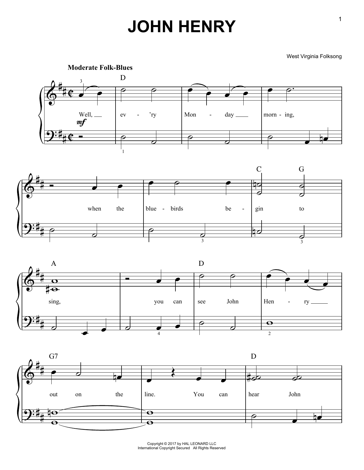 African-American Spiritual John Henry sheet music notes and chords. Download Printable PDF.
