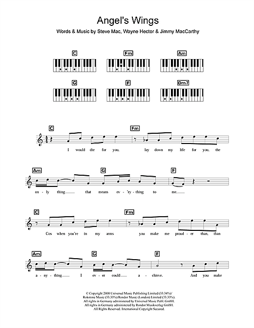 Westlife Angel's Wings sheet music notes and chords. Download Printable PDF.