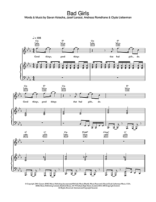 Westlife Bad Girls sheet music notes and chords