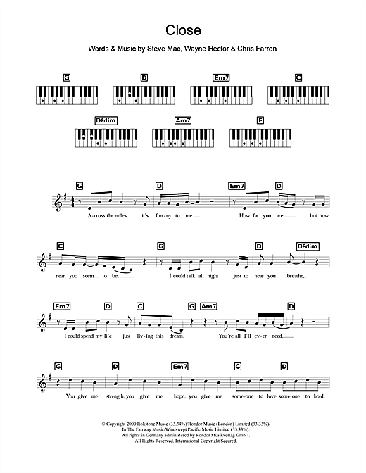Westlife Close sheet music notes and chords. Download Printable PDF.