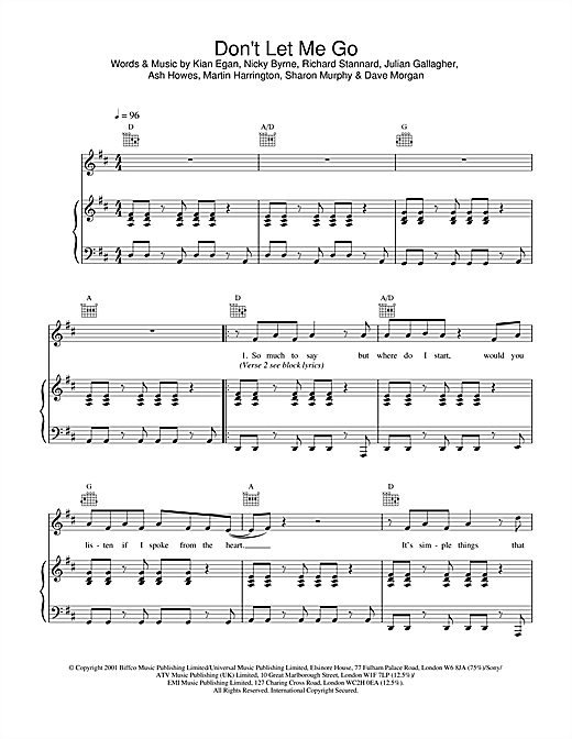 Westlife Don't Let Me Go sheet music notes and chords