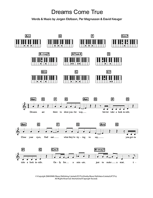 Westlife Dreams Come True sheet music notes and chords. Download Printable PDF.