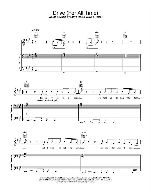 Westlife Drive (For All Time) sheet music notes and chords