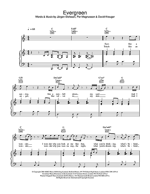 Westlife Evergreen sheet music notes and chords