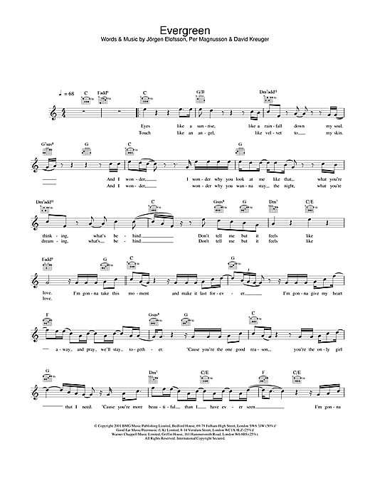 Westlife Evergreen sheet music notes and chords. Download Printable PDF.