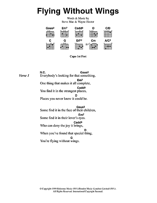 Westlife Flying Without Wings sheet music notes and chords. Download Printable PDF.