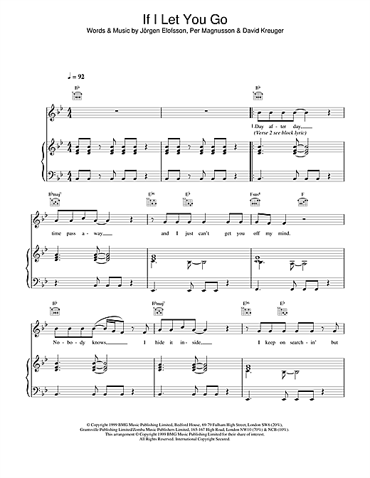 Westlife If I Let You Go sheet music notes and chords