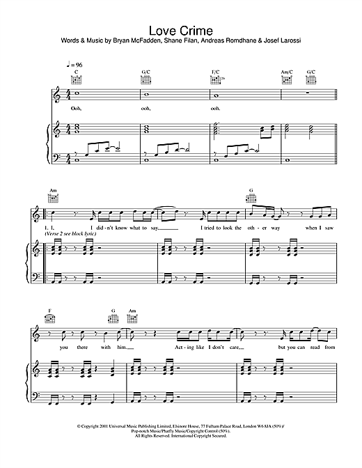 Westlife Love Crime sheet music notes and chords