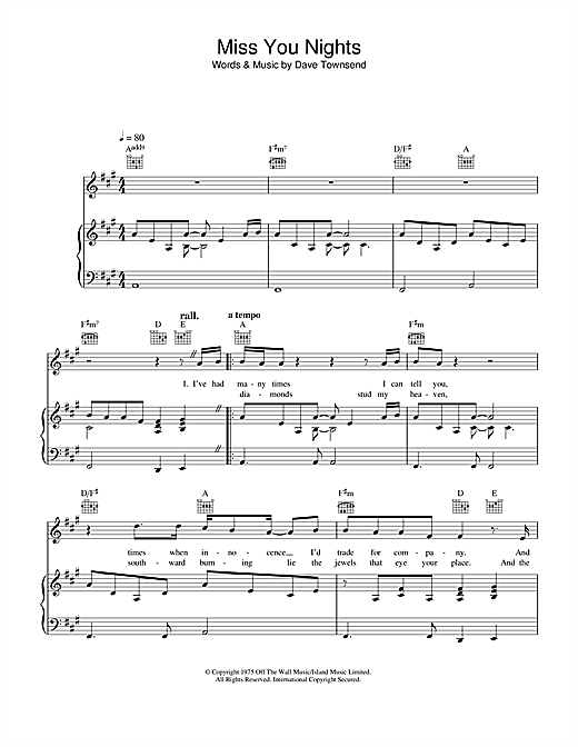 Westlife Miss You Nights sheet music notes and chords. Download Printable PDF.
