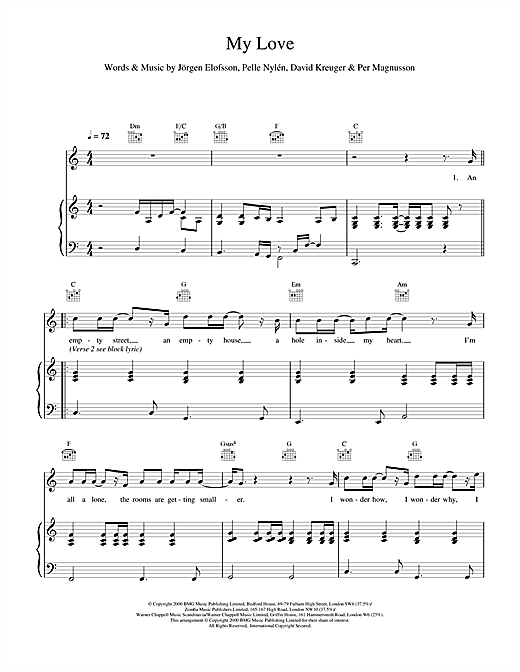 Westlife My Love sheet music notes and chords