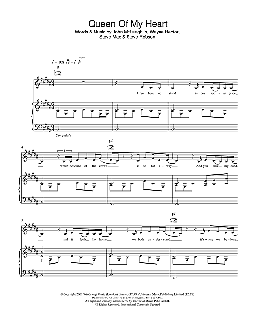 Westlife Queen Of My Heart sheet music notes and chords. Download Printable PDF.