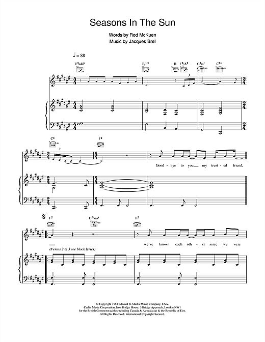 Westlife Seasons In The Sun sheet music notes and chords. Download Printable PDF.