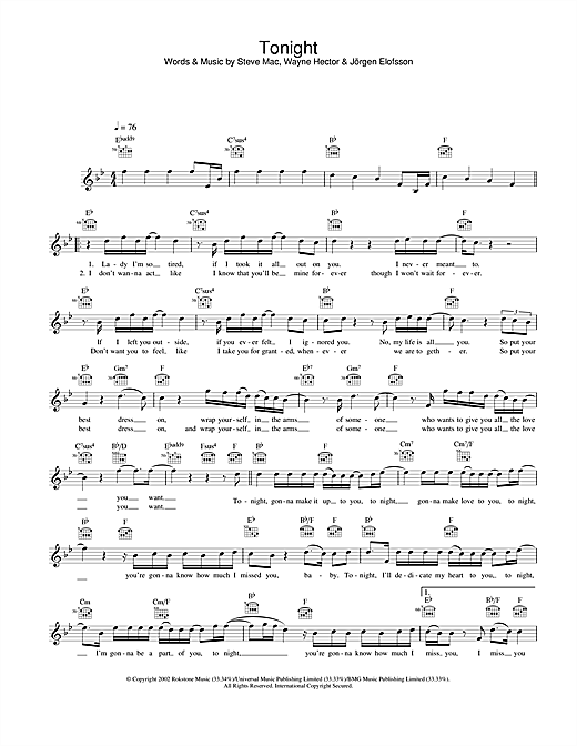 Westlife Tonight sheet music notes and chords. Download Printable PDF.