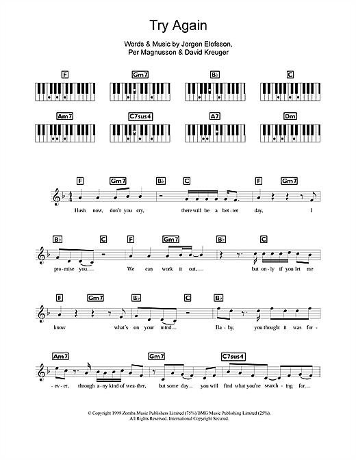Westlife Try Again sheet music notes and chords. Download Printable PDF.
