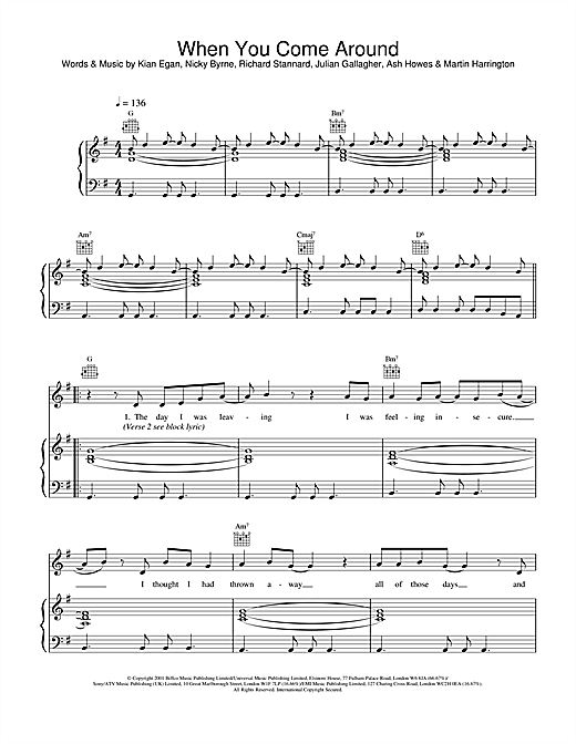 Westlife When You Come Around sheet music notes and chords