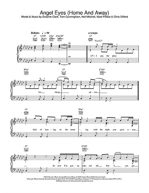 Wet Wet Wet Angel Eyes (Home And Away) sheet music notes and chords. Download Printable PDF.