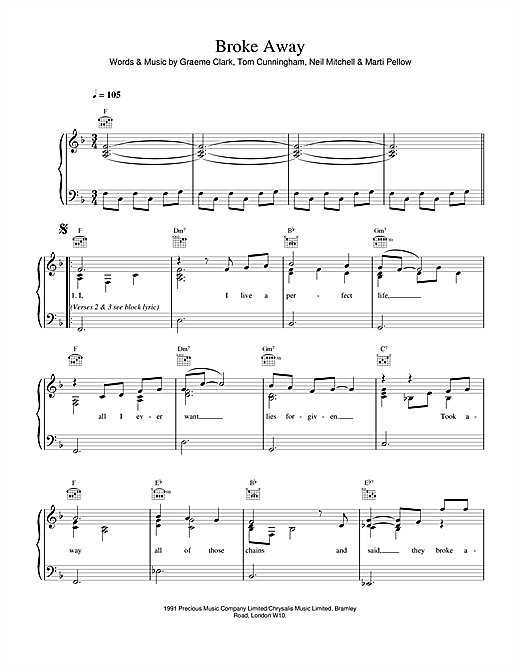 Wet Wet Wet Broke Away sheet music notes and chords