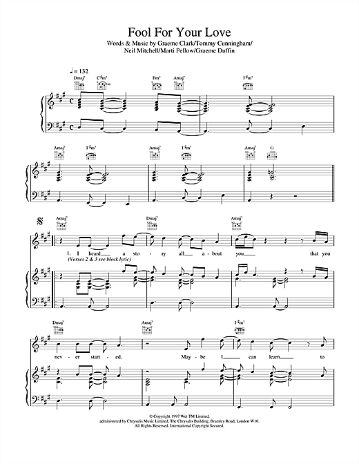 Wet Wet Wet Fool For Your Love sheet music notes and chords. Download Printable PDF.
