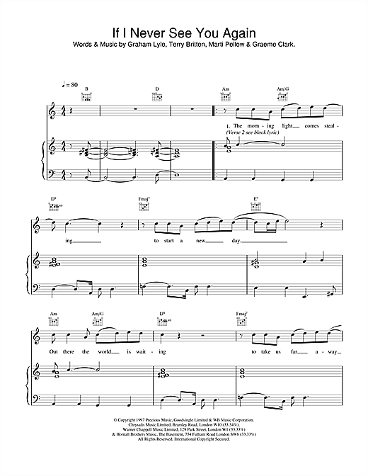 Wet Wet Wet If I Never See You Again sheet music notes and chords