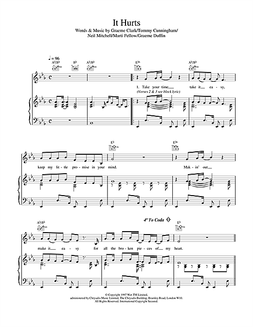 Wet Wet Wet It Hurts sheet music notes and chords