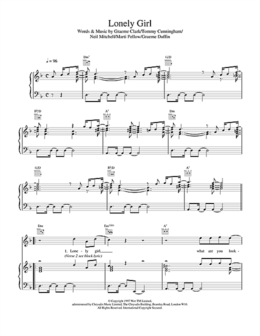 Wet Wet Wet Lonely Girl sheet music notes and chords. Download Printable PDF.