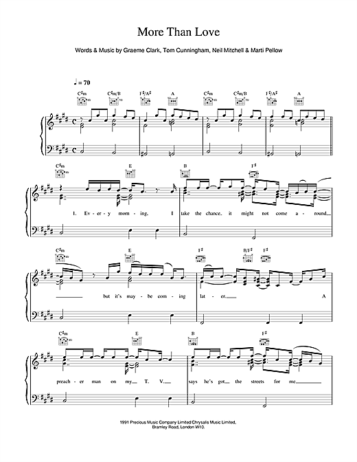 Wet Wet Wet More Than Love sheet music notes and chords. Download Printable PDF.