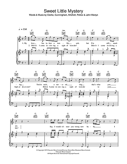 Wet Wet Wet Sweet Little Mystery sheet music notes and chords. Download Printable PDF.