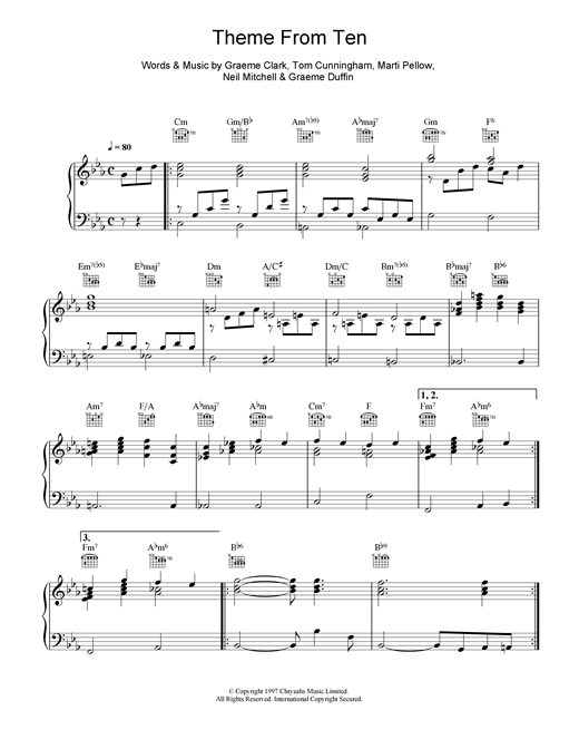 Wet Wet Wet Theme From Ten sheet music notes and chords
