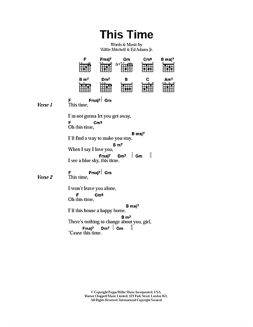 Wet Wet Wet This Time sheet music notes and chords. Download Printable PDF.