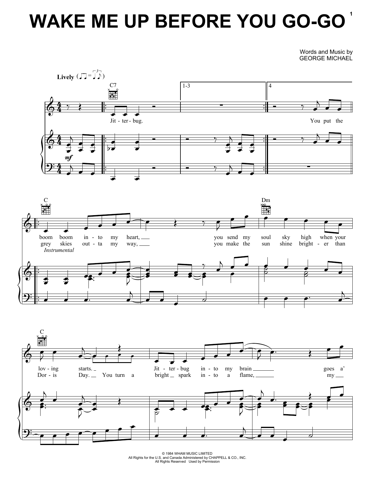 Wham! Wake Me Up Before You Go-Go sheet music notes and chords