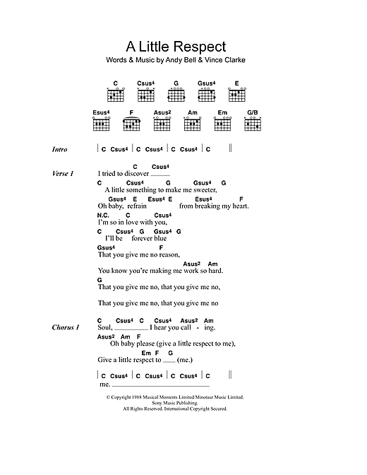 Wheatus A Little Respect sheet music notes and chords. Download Printable PDF.
