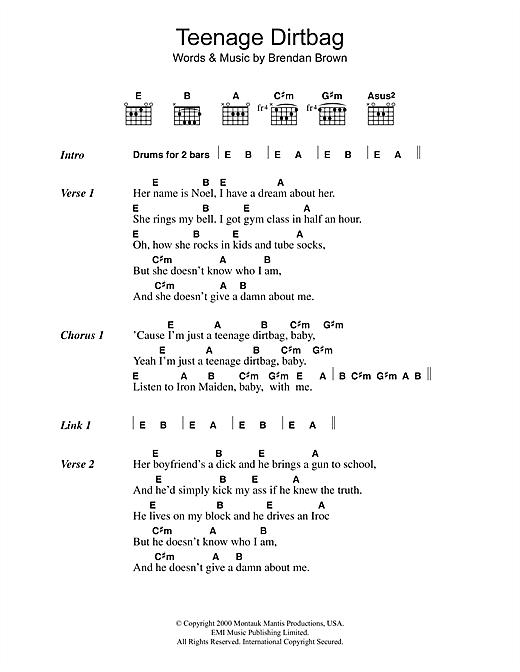 Wheatus Teenage Dirtbag sheet music notes and chords. Download Printable PDF.