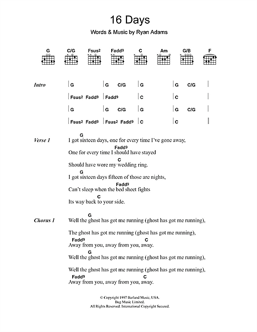 Whiskeytown 16 Days sheet music notes and chords. Download Printable PDF.