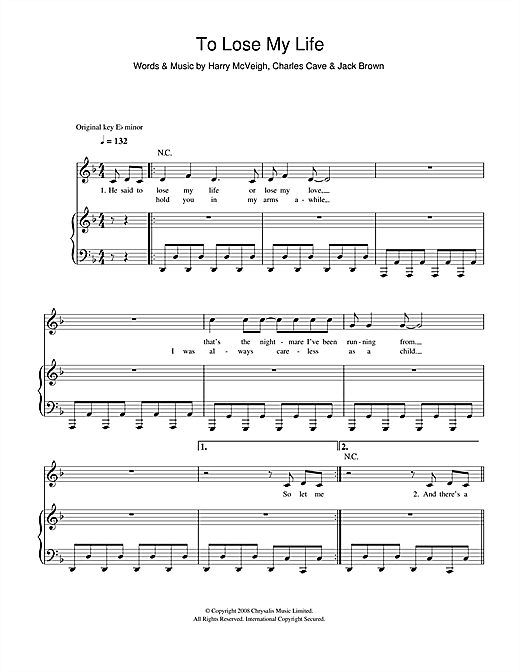 White Lies To Lose My Life sheet music notes and chords. Download Printable PDF.