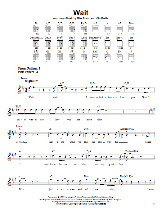 White Lion Wait sheet music notes and chords