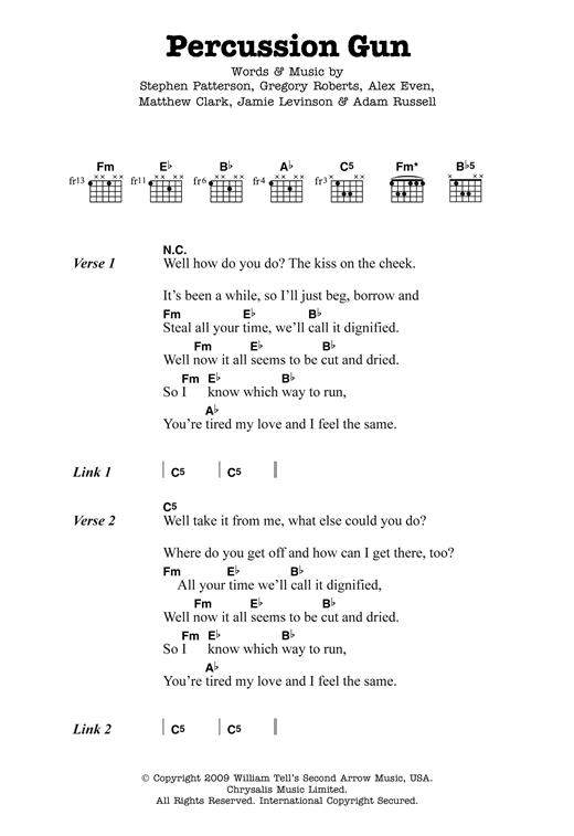 White Rabbits Percussion Gun sheet music notes and chords. Download Printable PDF.