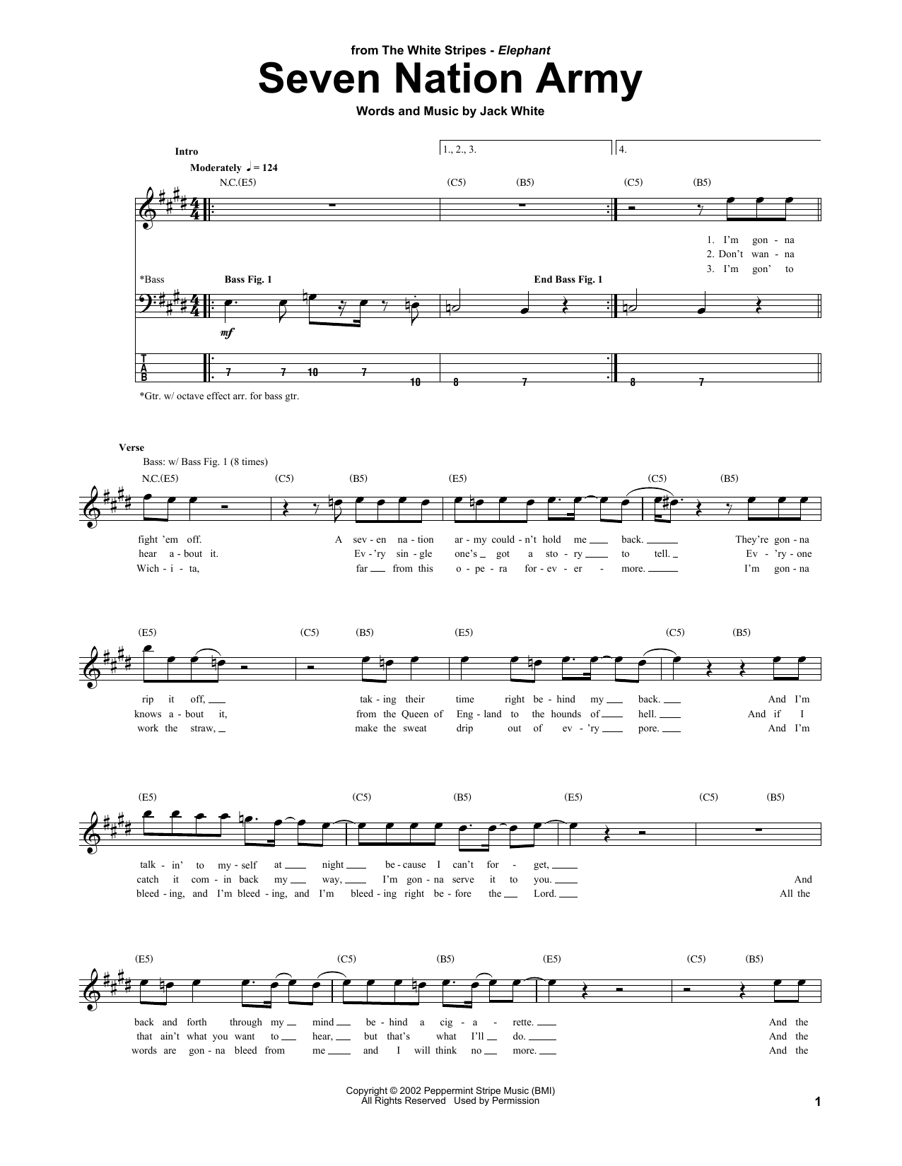 White Stripes Seven Nation Army sheet music notes and chords. Download Printable PDF.