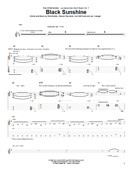 White Zombie Black Sunshine sheet music notes and chords. Download Printable PDF.