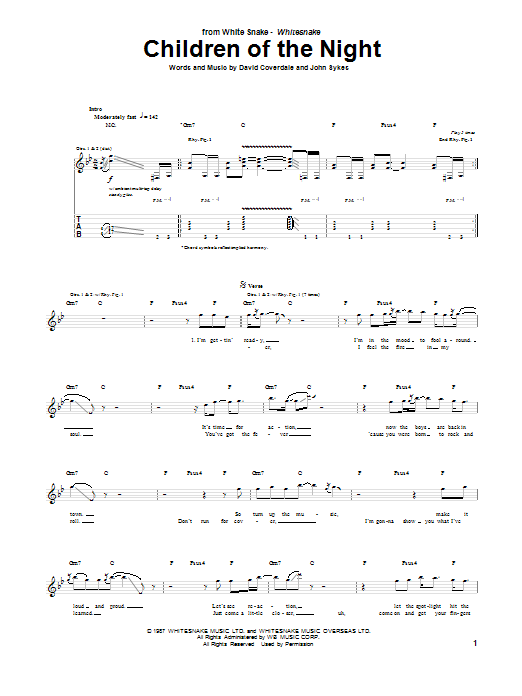 Whitesnake Children Of The Night sheet music notes and chords. Download Printable PDF.