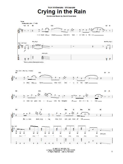 Whitesnake Crying In The Rain sheet music notes and chords. Download Printable PDF.