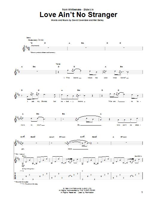 Whitesnake Love Ain't No Stranger sheet music notes and chords. Download Printable PDF.