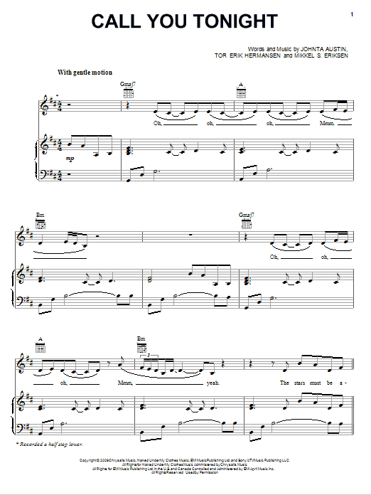 Whitney Houston Call You Tonight sheet music notes and chords. Download Printable PDF.