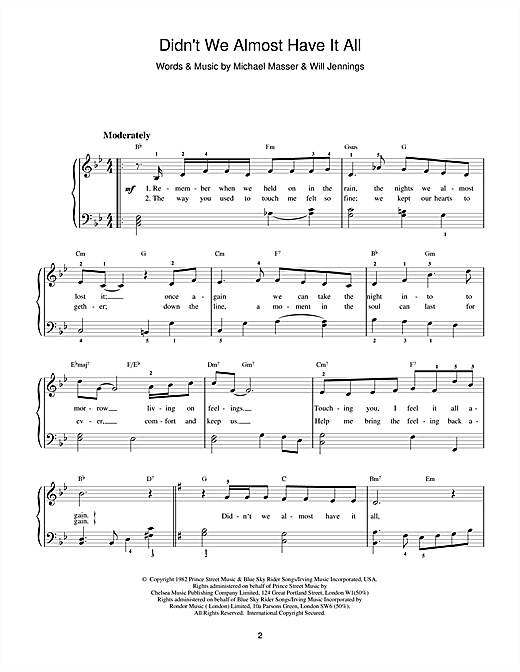 Whitney Houston Didn't We Almost Have It All sheet music notes and chords