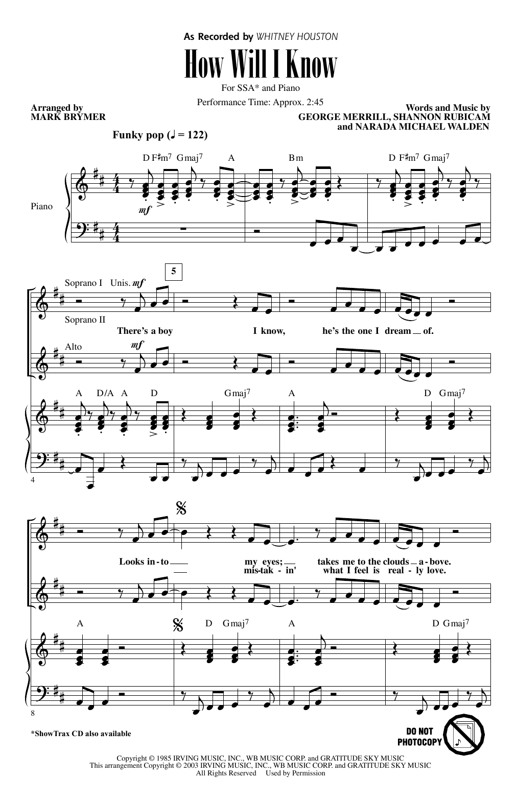 Whitney Houston How Will I Know (arr. Mark Brymer) sheet music notes and chords. Download Printable PDF.