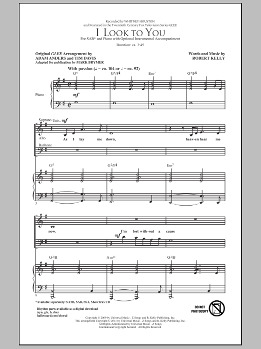 Whitney Houston I Look To You (arr. Mark Brymer) sheet music notes and chords. Download Printable PDF.