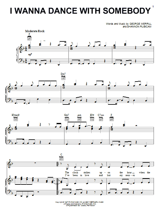 Whitney Houston I Wanna Dance With Somebody sheet music notes and chords. Download Printable PDF.