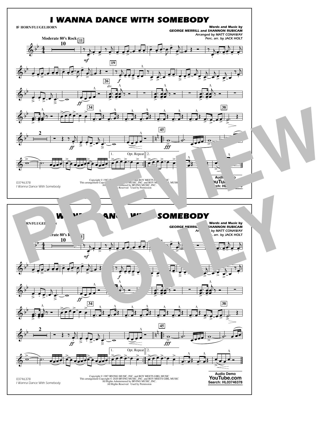Whitney Houston I Wanna Dance with Somebody (arr. Conaway and Holt) - Bb Horn/Flugelhorn sheet music notes and chords. Download Printable PDF.